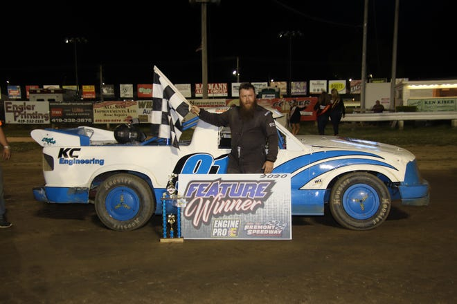 Cory McCaughey earned his first career win at Fremont Speedway on Saturday.