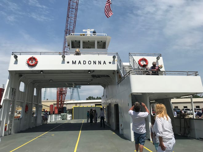 People tour Washington Island Ferry's newest vessel, Madonna, at its christening ceremony.