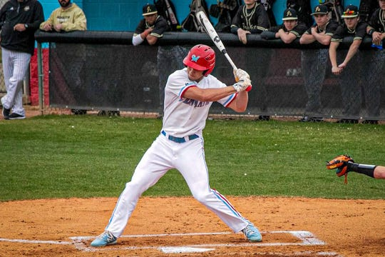 J.L. Mann and Clemson commit Tristan Bissetta swings at a pitch during a game on March 10 against T.L. Hanna.