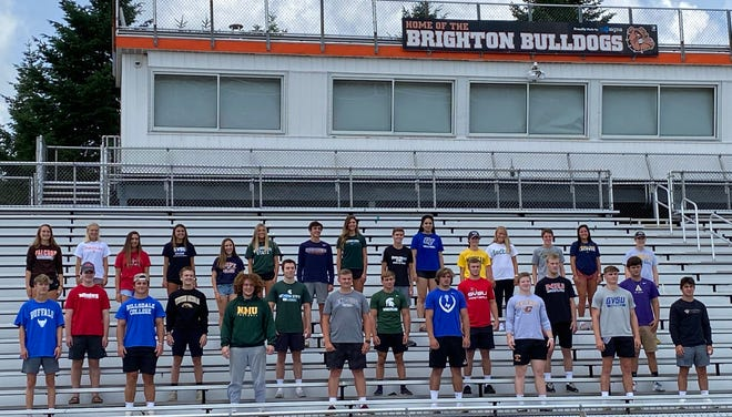 Among the Brighton High School athletes in the Class of 2020 who will be competing in college are: Front row (left to right) Sam Freeman (Buffalo wrestling), Holton Boehmer (Wittenberg lacrosse), Zach Pardonnet (Hillsdale football), Brendan Harrity (Western Michigan baseball), Nathan Kwapisz (Northern Michigan football), Lucas Copple (Michigan State lacrosse), Jack Cataldo (Alma football), Eddie Homrock (Michigan State wrestling), Nate Hoffman (Air Force football),Colby Newburg (Saginaw Valley football), Cole Riddle (Central Michigan football), Greyson Stevens (Northern Illinois wrestling), Luke Stanton (Grand Valley football), Owen Robinson (Albion baseball), Dane Donabedian (Davenport wrestling). Back row: Sophie Dziekan (Bowling Green basketball), Paige Falk (Findlay lacrosse), Isabelle Viau (Concordia basketball), Mia Hansen (Grand Valley soccer), Rachel Fusik (Hope cross country/track), Lindsey Witte (Michigan State swimming), Dan Campbell (Hope cross country/track), Celia Cullen (Michigan State volleyball), Scott Spaanstra (Grand Valley cross country/track), Solana Hickinson (Grand Valley volleyball), Zach Stewart (Michigan cross country/track), Brooke Pietila (Northern Michigan soccer), Jack Spamer (Michigan cross country/track), Alexa Lamoreaux (Adrian softball), India Lange (Concordia St. Paul lacrosse).