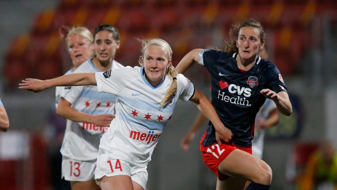 Chicago Red Stars' Zoe Morse (14) and Washington Spirit Andi Sullivan (12) battle for position during the second half of an NWSL Challenge Cup soccer match at Zions Bank Stadium Saturday, June 27, 2020, in Herriman, Utah.