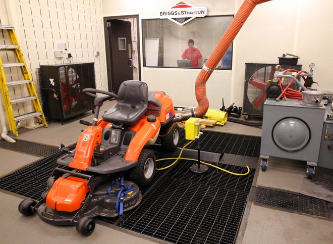A heat-simulation test takes place on a lawn mower at a Briggs & Stratton lab in Wauwatosa.