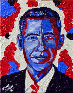 "Missy Camille Adams will show ""Pop Art Presidents: Historical not Political"" at Madjax July 2, 2020."