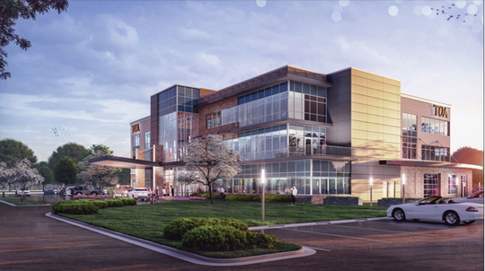 This rendering shows what a Ambulatory Surgery Center will look like in a joint venture by Tennessee Orthopedic Alliance (TOA), United Surgical Partners International and  Ascension Saint Thomas in the Westlawn development on Veterans Parkway off Interstate 840 in Murfreesboro.