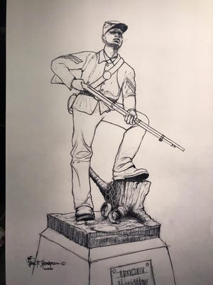 A rendering of what the U.S. Colored Troop statue will look like in front of the historic courthouse. The statue will go up in 2021.