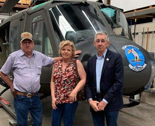 The helicopter was inspected by Steve Angell, Ray Westall (not shown) Carlsbad Veterans Memorial Park Committee Chair Dagmar Youngberg, and Carlsbad Mayor Dale Janway.