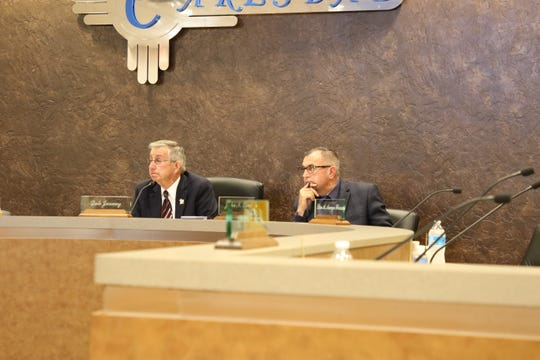 Carlsbad Mayor Dale Janway (left) and Carlsbad City Administrator John Lowe during the June 23, 2020 Carlsbad City Council meeting. Councilors approved a grant agreement between the City and the New Mexico Department of Tourism for a grant to help Keep Carlsbad Beautiful.