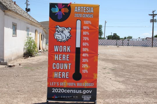 A barometer indicates how many Artesia residents filled out the 2020 Census. Census figures indicate Artesia leads all Eddy County municipalities in census completions as of June 28, 2020.