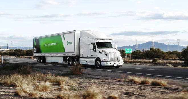 TuSimple autonomous trucks, like this one shown in southern Arizona, already have been driving along Interstate 10.