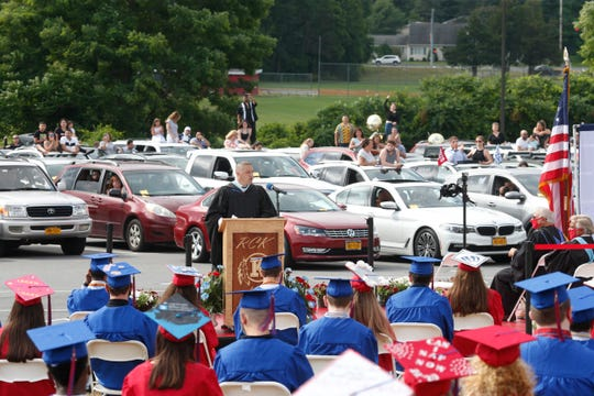 Roy C. Ketcham High School principal, David Seipp speaks during Monday's commencement on June 29, 2020.