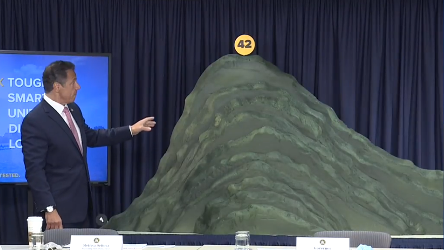 Andrew Cuomo unveils giant foam mountain to visualize New York's COVID-19 battle