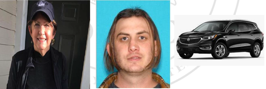 Sheila Doyle (left) was last seen at a Bethany Beach home June 15 with her son Brian Doyle (middle). Brian Doyle is a suspect in her disappearance and death and was found dead in Virginia on June 17. Pictured on the right is a stock photo of a 2020 Buick Enclave similar to the one owned by Sheila Doyle, which has been recovered by Delaware State Police investigators.