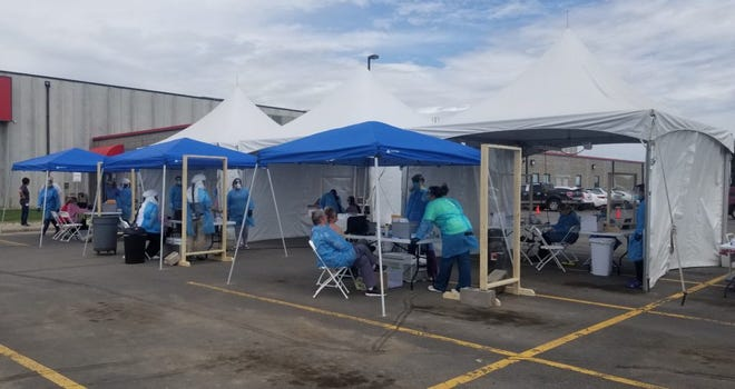 This temporary testing facility was operated by the Horizon Health Care clinic in Alpena in May.
