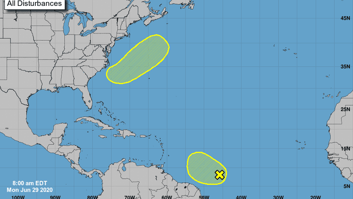 National Hurricane Center watching two system in Atlantic 8 a.m. June 29, 2020.