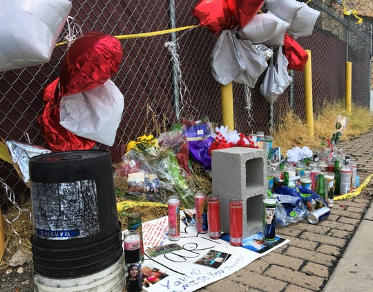 Sidewalk memorial at scene of crash that killed seven on West Paisano Drive in Downtown El Paso on June 25, 2020.