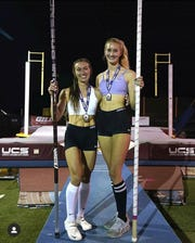 Westlake High junior Paige Sommers, right, and Orchard Park (N.Y.) senior Leah Pasqualetti went head to head at Vaulter Magazine's Big Barn Stars and Stripes meet in Menifee last Friday night. After both cleared 14 feet, 2 inches, Pasqualetti set the national outdoor record by clearing 14-8.25.