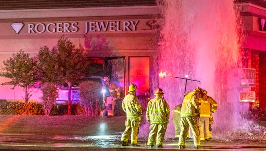 Visalia Fire and Police departments blocked eastbound Caldwell Avenue for about two hours after an eastbound truck collided with a fire hydrant and a jewelry store just east of Mooney Boulevard on Sunday, June 28, 2020. Officers found the driver Anthony Galindo, 27, of Visalia stuck in the vehicle as water gushed from the broken hydrant. He was taken to a local hospital for examination.  Galindo was found to be driving under the influence of alcohol and arrested. No others were injured. Personnel from Visalia Fire, Cal Water, Visalia City Buildings Inspector, and two tow Trucks worked to safely remove the truck from the building.