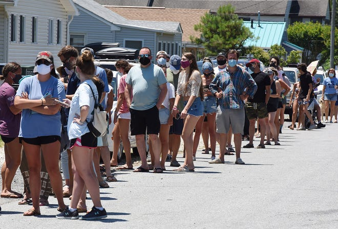 Testing for COVID-19 was held at the Starboard in Dewey Beach on Monday, June 29. Hundreds showed up for the Oral Swab Test held in conjunction with DEMA, Delaware National Guard, Starboard and Sussex County EMS.