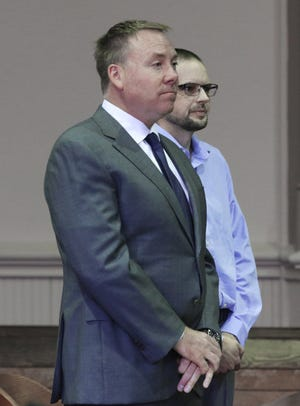 Joseph Drake, right, and his attorney Bradley Koffel appeared in Muskingum County Common Pleas Court on Monday. Drake plead no contest to two charges, gross sexual imposition and rape.