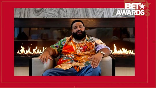 """DJ Khaled accepts the award for video of the year for """"Higher."""""""