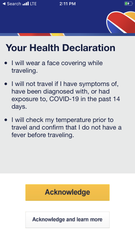 Passengers checking in for a Southwest Airlines flight must acknowledge the airline's face mask policy and other health declarations during the coronavirus pandemic.