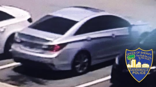 The Jacksonville Sheriff's Office released this photo of a silver car involved in a shooting an Amazon warehouse in Florida on June 29.