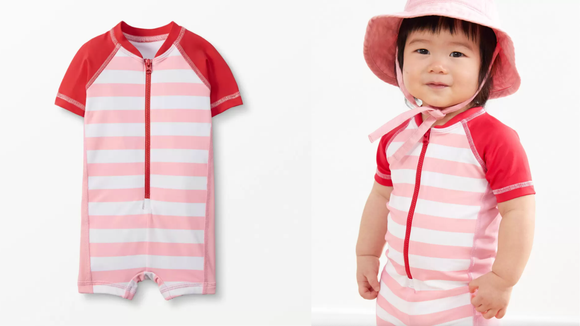 This beach suit provides UV protection for little ones.