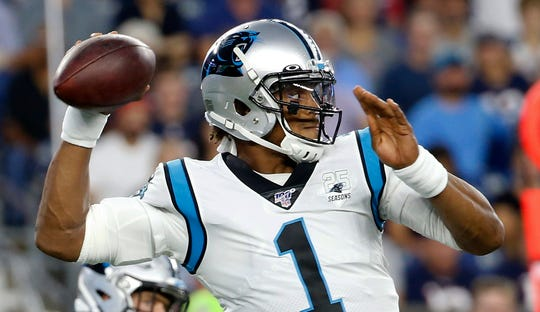 Cam Newton spent nine seasons with the Carolina Panthers, leading the team to Super Bowl 50.