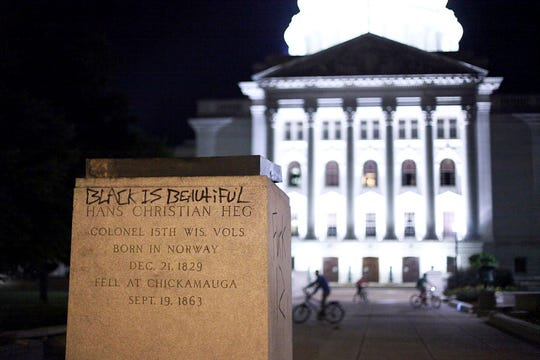 The base of the statue of Col. Hans Christian Heg on June 23, 2020, in Madison, Wisconsin.