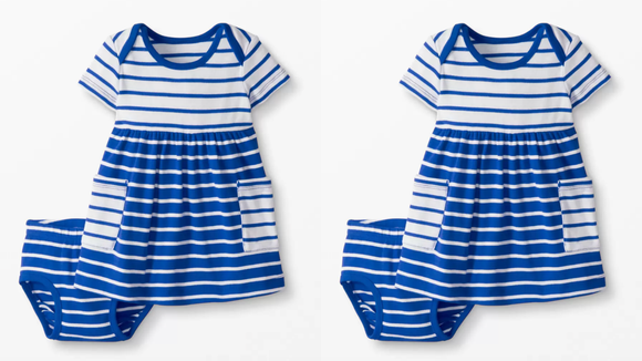 This blue-and-white sailor dress looks great during playtime and during beach time.