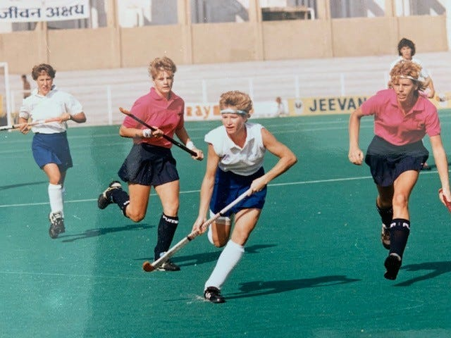 Mary Koboldt playing field hockey.