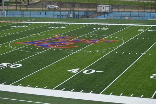 New turf was recently laid out at Louisiana College's Wildcat Field by GeoSciences.