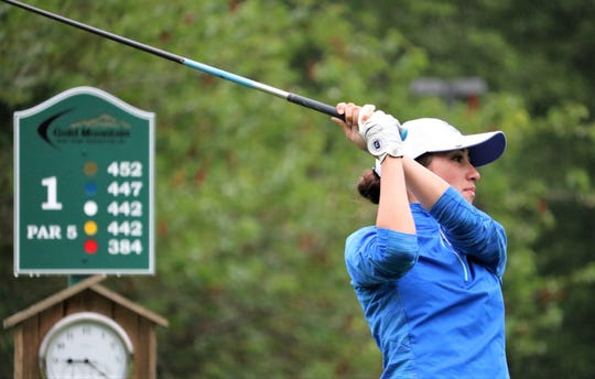 Kathryn Crimp of Ellensburg tees off on the first hole of Gold Mountain Golf Club's Cascade Course on Tuesday during the opening round of the Washington Women's Amateur Championships in Bremerton.