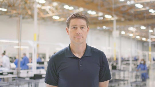 Bob Hamilton, CEO of Hamilton Medical, Inc., is seen here inside the transformed ventilator factory on May 4. He reached out to General Motors to help bring his dream to life.