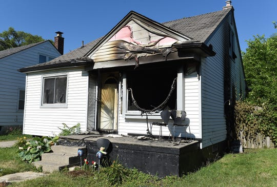 The remains of Monday night's house fire at 8600 Pierson St., Detroit, Tuesday, June 30, 2020.