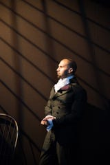 """Detroit native Sydney James Harcourt is part of the original cast of """"Hamilton."""" He's in the ensemble and performs the role of James Reynolds."""