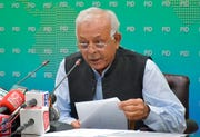 Pakistan's aviation minister Ghulam Sarwar Khan speaks during a press conference in Islamabad, Pakistan, Friday, June 26, 2020. Sarwar said they have fired five aviation officials after investigating a scandal relating to the issuance of pilot licenses to unqualified people.