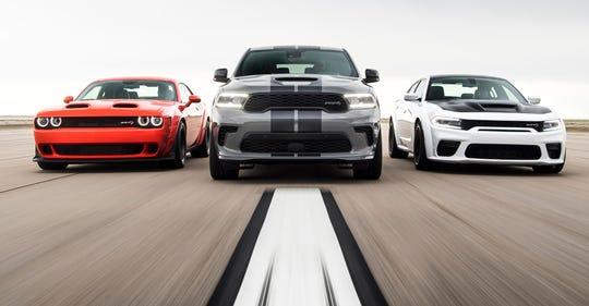The Dodge SRT performance lineup includes the 2020 Challenger SRT Super Stock, 2021 Durango SRT Hellcat and 2021 Charger SRT Hellcat Redeye