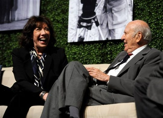 """Actress Lily Tomlin and honoree Carl Reiner speak onstage at the Academy of Television Arts & Sciences Presents: """"An Evening Honoring Carl Reiner"""" on October 13, 2011 in North Hollywood."""