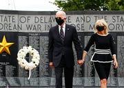 Democratic presidential candidate, former Vice President Joe Biden and Jill Biden depart after placing a wreath at the Delaware Memorial Bridge Veterans Memorial Park, Monday, May 25, 2020, in New Castle, Del.