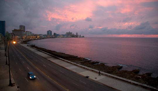 The Malecon waterfront is devoid of people during a lockdown to curb the spread of COVID-19 in Havana, Cuba, Thursday, June 18, 2020.