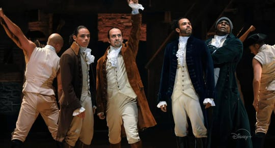"Anthony Ramos, Lin-Manuel Miranda, Daveed Diggs and Okieriete Onaodowan in ""Hamilton."""