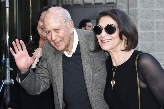 """Carl Reiner and his daughter Annie Reiner attend the LA Premiere of """"If You're Not In The Obit, Eat Breakfast"""" at the Samuel Goldwyn Theater on Wednesday, May 17, 2017, in Beverly Hills."""