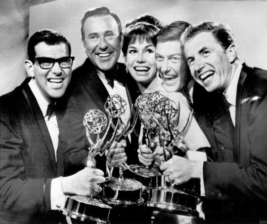 """""""The Dick Van Dyke Show"""" writer Bill Persky, producer Carl Reiner, actress Mary Tyler Moore, actor Dick Van Dyke, and writer Sam Denoff display Emmy awards in 1966. Reiner got his Emmy for producing the winning series."""