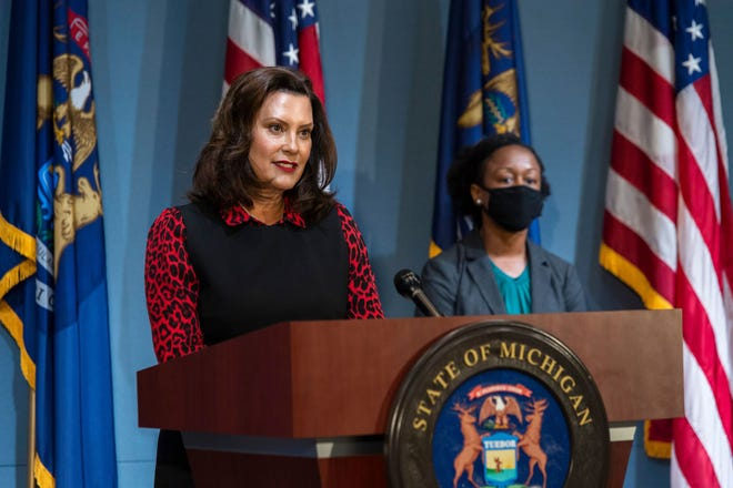 Governor Gretchen Whitmer speaks during a news conference, Tuesday, June 30, 2020.
