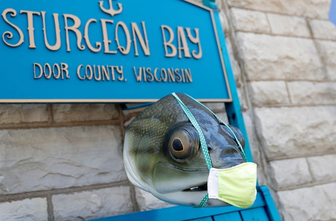 A decorative sturgeon head dons a mask outside Destination Sturgeon Bay information center on June 12, 2020, in Sturgeon Bay, Wis.