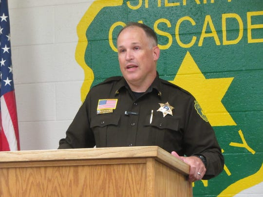 Cascade County Sheriff Jesse Slaughter addresses the media Tuesday, June 30, 2020, regarding overcrowding at the Cascade County Detention Center.