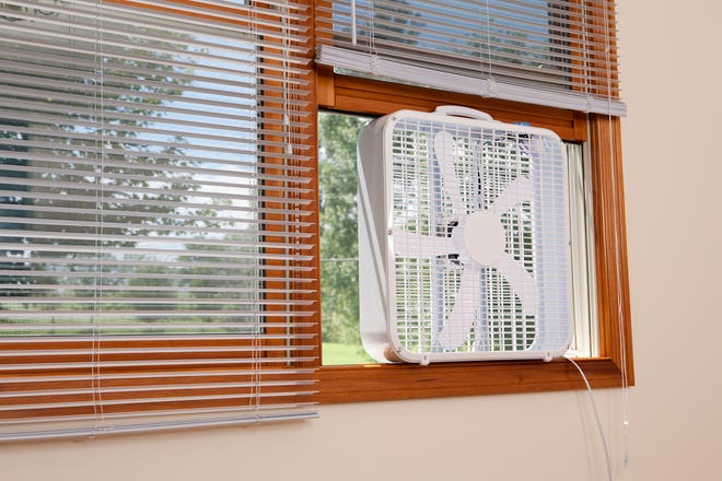 Place portable fans in open windows at night to move cool air.