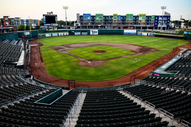 With the Lugnuts not playing due to COVID-19 restrictions, the ballpark remains empty on Monday, June 29, 2020, at the Cooley Law School Stadium in Lansing.