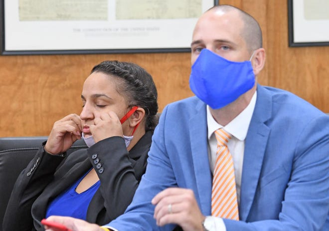 Jamie Haynes appears in court with her attorney Sean Boone on the first day of her trial Monday morning. Haynes is accused of involuntary manslaughter, reckless homicide and endangering children for the July 2018 death of her 14-day-old son.